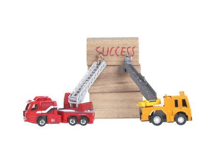 scaling ladder: Success  concept dolls figure isolated on white Stock Photo