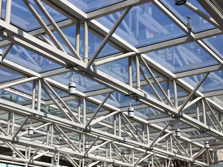 light transmission: Metal frame and glasses of commercial ceiling Stock Photo