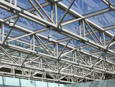 Metal frame and glasses of commercial ceiling.