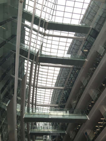 construction: Interior of building with glass skylight for lighting