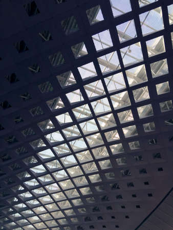 Interior of commercial building with glass ceiling for light transmitting