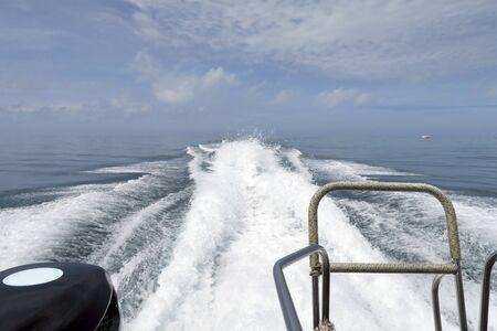 The spray behide speedboat