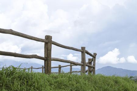 Fence on mountain Stock Photo