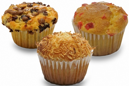 muffins, muffins tasty decoration isolated on white background