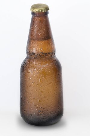 closed club: bottle of beer on white background