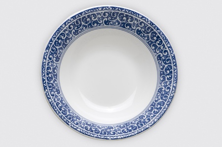 plate, soup bowl blue on white photo