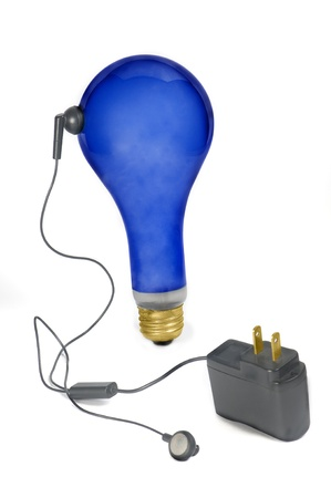 cosa: blue bulb and power supply Stock Photo
