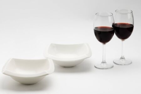 bigne: plates, cups dishes with red wine