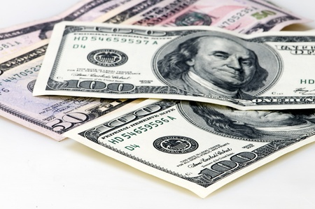 dollars in white background Stock Photo