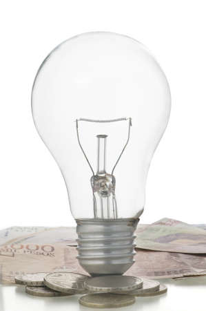 bulb with money and coins