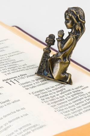 Kneeling next to the Bible Stock Photo - 12684721