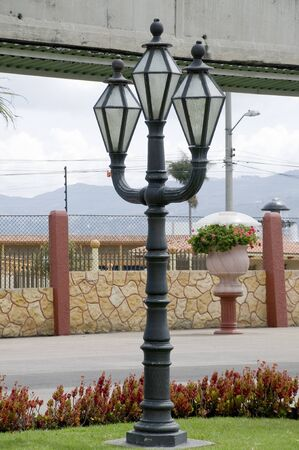 decorating the street lamps Stock Photo