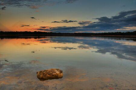 Sunset reflection at a lake