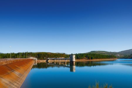 alentejo: Water barrier dam of Apartadura, Alentejo, Portugal Stock Photo