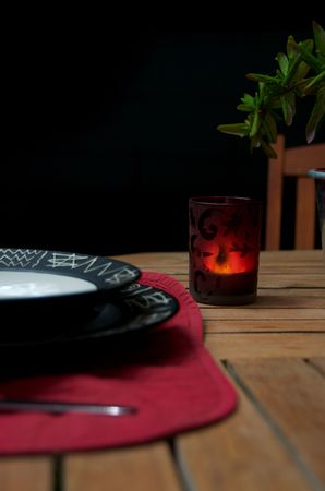 Table set for a romatic diner outdoors Stock Photo