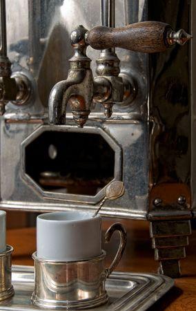 Detail of an antique coffee machine