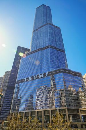 CHICAGO, IL, USA - April 15 2016: Trump International Hotel and Tower, a skyscraper condo hotel located in downtown Chicago, Illinois