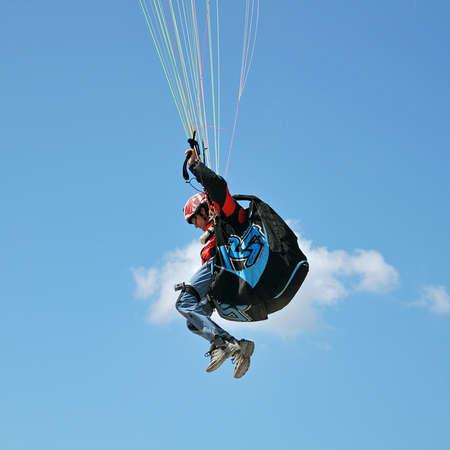 paraglider in flight clings slings