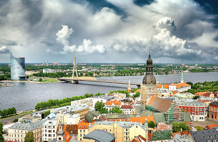 old and modern Riga across the river photo