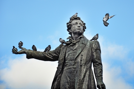 Monument to the poet Pushkin in St  Petersburg