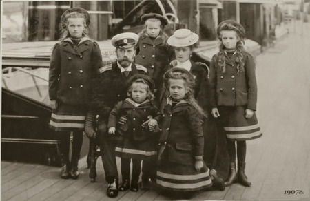 Nicholas II,  old family photo. parents with five children Editorial