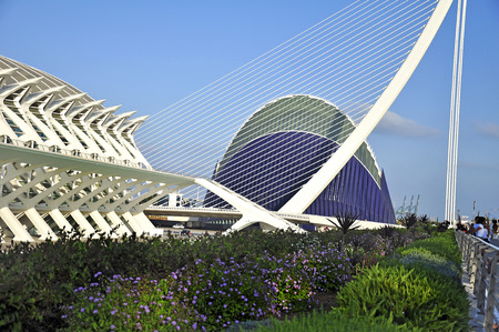 Modern buildings in the Ciudad de las Artes y Sciences in Valencia, The architect of these buildings is Santiago Calatrava