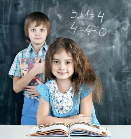 boy and girl in the classroom