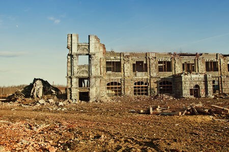 vile: destroyed old building Stock Photo