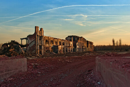 Completely ruined brick building Stock Photo