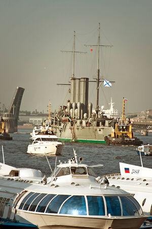 Aurora cruiser transported for repair