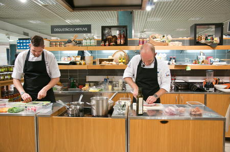 Master- class chefs in the shop STOCKMANN in Riga, Latvia, September 2014