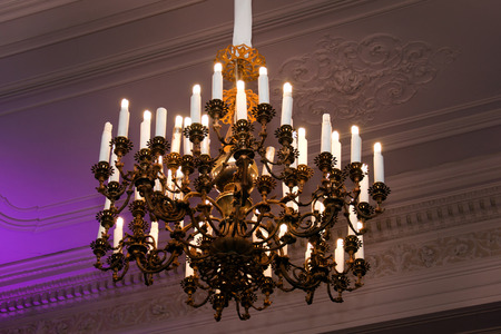 Beautiful crystal chandeliers photo