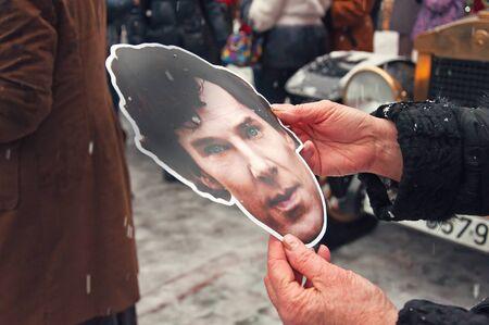 intellectually: Mask actor Cumberbatch birthday of Sherlock Holmes 04.01.2015 in Riga, Latvia
