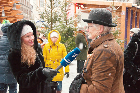 interview the characters of books Conan Doyle in Riga, Latvia, 04/01/2015 Editorial