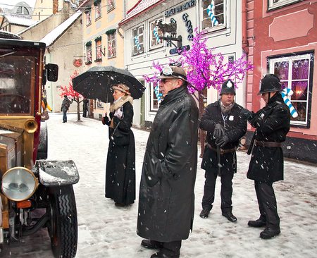book character Conan Doyle in Riga, Latvia, 04012015