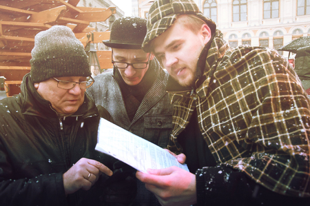 intellectually: RIGA, LATVIA - January 4: decision tasks with heroes of books Conan Doyle