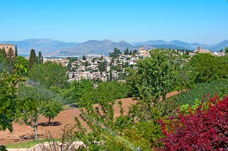 granada: Gardens of La Alhambra in Granada, Spain Stock Photo