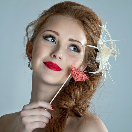 Beauty woman. Beautiful model girl with fake lips photo