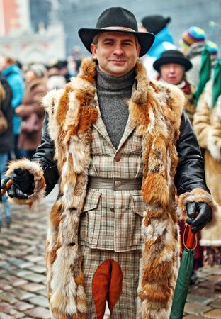 intellectually: RIGA, LATVIA - January 4: book character Conan Doyles birthday January 4, 2014 Sherlock Holmes on the streets of Riga, Latvia