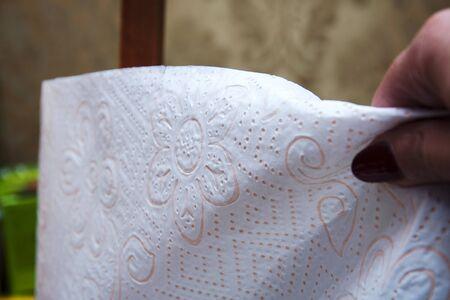 papel higienico: mano tira del papel higi�nico