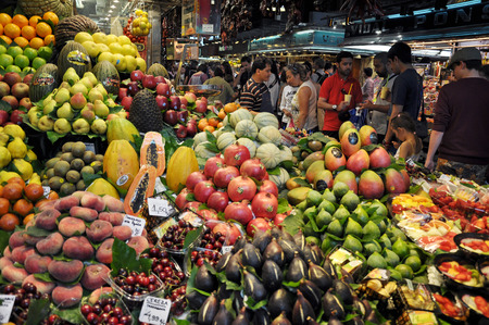 Colorful Fruits on the Boqueria market in Barcelona - Spain