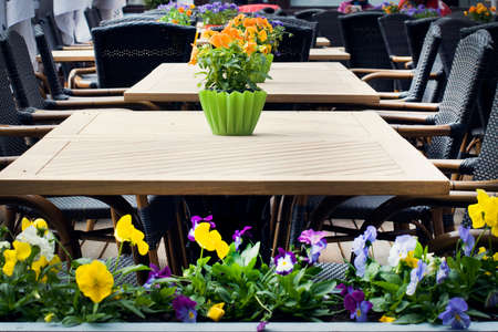 street cafe: street cafe with flowers