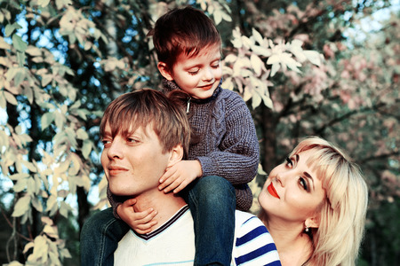 fun day: family fun in Park in autumn Stock Photo