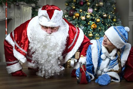 snegurochka: Russian Christmas characters: Ded Moroz (Santa) and Snegurochka (snow girl) around the Christmas tree, with gift bag Stock Photo