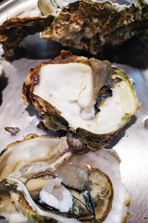 Frische Austern in einem weißen Teller mit Eis und Zitrone