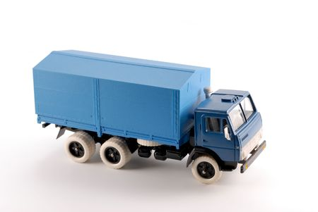 made in russia: Collection scale model of the blue truck. The model is made of metal. For a basis of model the machine issued in the last century in Russia is taken. Stock Photo