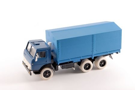 Basis: Collection scale model of the blue truck. The model is made of metal. For a basis of model the machine issued in the last century in Russia is taken. Stock Photo