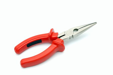 Flat-nose pliers with red handles on a white background Stock Photo - 2645506