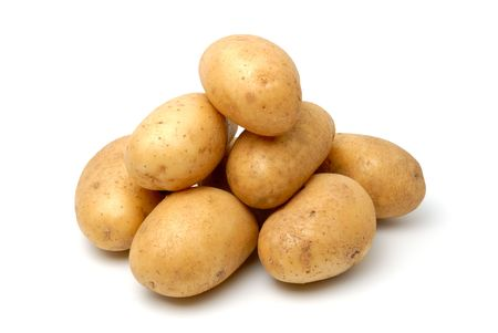 Heap of potato isolated on the white background Stock Photo