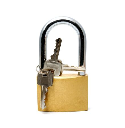 Padlock with the long handle on a white background